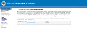 This is what you get when you follow the online payment link on the City of Philadelphia website.